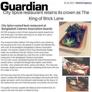 City Spice as The Best In Brick Lane Featured By The Guardian Series.