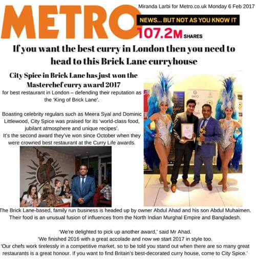 Metro saying City Spice is The Best Restaurant In Brick Lane