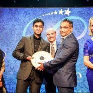 Winning the CurryLife 2016 award - presented to us by the Right Honourable Priti Patel MP Secretary State For International Development. (left) Sanjay Ahmed MBE (back) and BBC Presenter Louise Minchin (right)