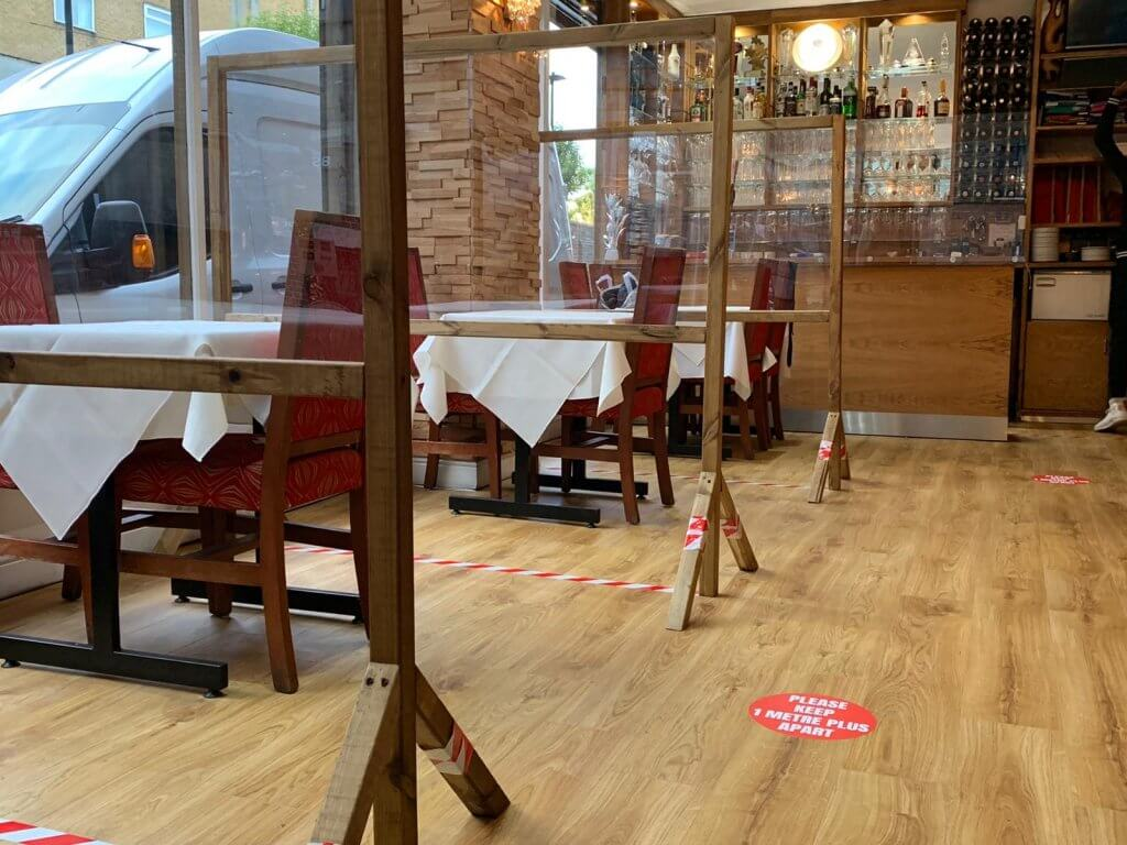 City Spice Indian Restaurant showing how we have used plexiglass to stop spread of Covid-19
